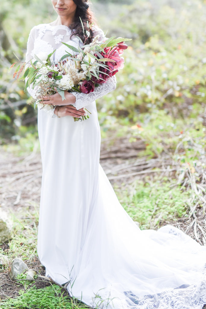 Burgundy winter wedding at Die Woud, South Africa bridal bouquet.